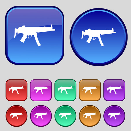 large group of objects: machine gun icon sign. A set of twelve vintage buttons for your design. illustration