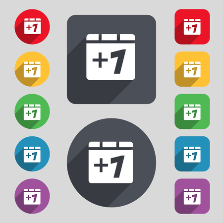 Plus one, Add one icon sign. A set of 12 colored buttons and a long shadow. Flat design. illustration Stock Photo