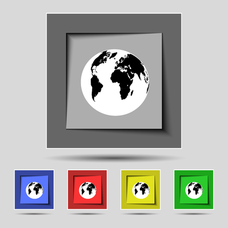 geography: Globe sign icon. World map geography symbol. Set colourful buttons. illustration