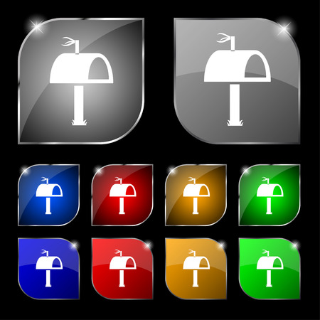 media distribution: Mailbox icon sign. Set of ten colorful buttons with glare. illustration Stock Photo