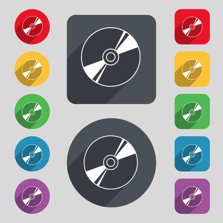 disks: Cd, DVD, compact disk, blue ray icon sign. A set of 12 colored buttons and a long shadow. Flat design. illustration