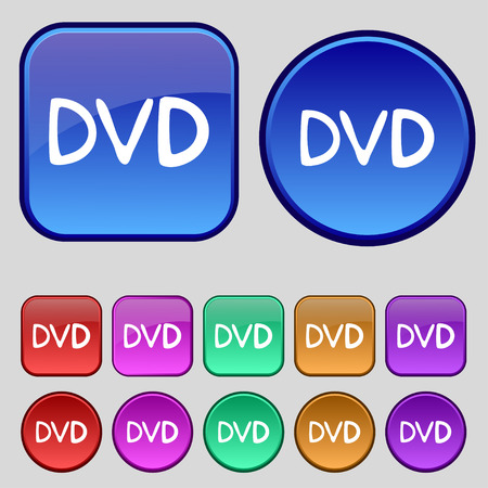 storage data product: dvd icon sign. A set of twelve vintage buttons for your design. illustration