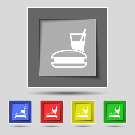 lunch box: lunch box icon sign on original five colored buttons. illustration Stock Photo