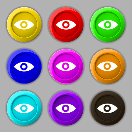 sixth sense: Eye, Publish content, sixth sense, intuition icon sign. symbol on nine round colourful buttons. illustration