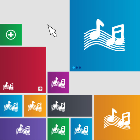 ringtone: musical note, music, ringtone icon sign. buttons. Modern interface website buttons with cursor pointer. illustration