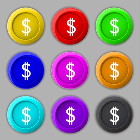 usd: Dollars sign icon. USD currency symbol. Money label. Set of colored buttons. illustration
