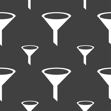 funnel: Funnel icon sign. Seamless pattern on a gray background. illustration