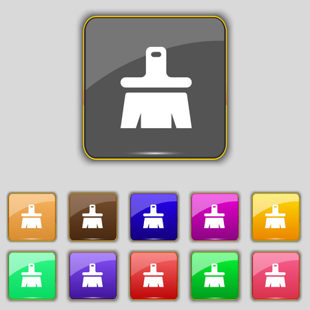 painter decorator: Paint brush, Artist icon sign. Set with eleven colored buttons for your site. illustration Stock Photo