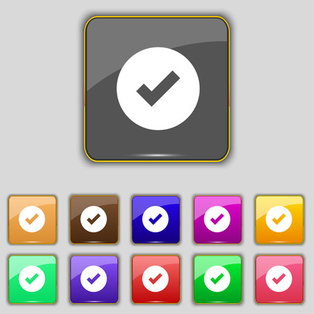 Check mark, tik icon sign. Set with eleven colored buttons for your site. illustration Stock Photo
