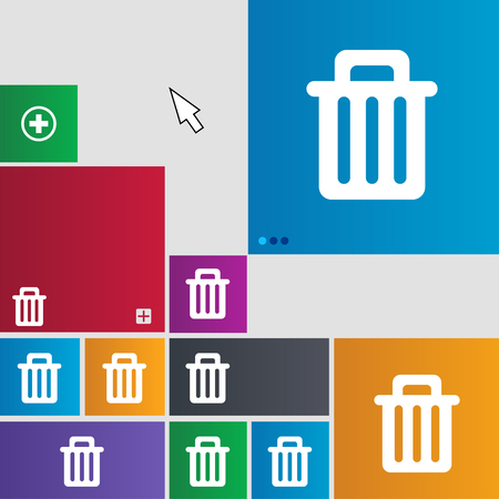 garbage tank: Recycle bin icon sign. buttons. Modern interface website buttons with cursor pointer. illustration
