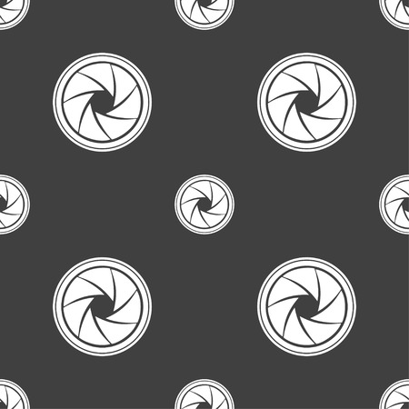 diaphragm: diaphragm icon. Aperture sign. Seamless pattern on a gray background. illustration