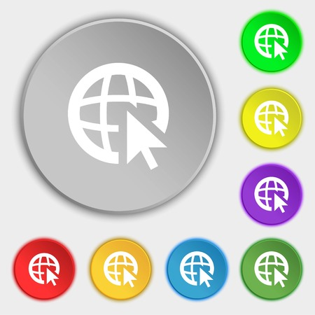 world wide web: Internet sign icon. World wide web symbol. Cursor pointer. Symbols on eight flat buttons. illustration