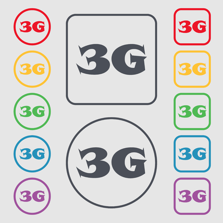3g: 3G sign icon. Mobile telecommunications technology symbol. Symbols on the Round and square buttons with frame. illustration Stock Photo