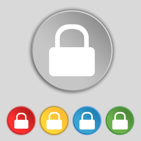 pad lock: Pad Lock icon sign. Symbol on five flat buttons. illustration