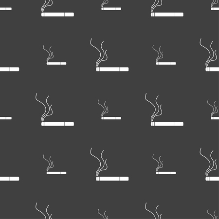 vaporizer: Smoking sign icon. Cigarette symbol. Seamless pattern on a gray background. illustration Stock Photo