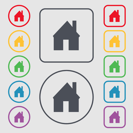 main: Home sign icon. Main page button. Navigation symbol. Symbols on the Round and square buttons with frame. illustration