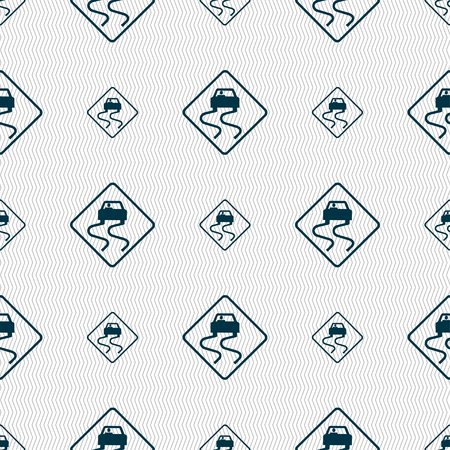 risks ahead: Road slippery icon sign. Seamless pattern with geometric texture. illustration Stock Photo
