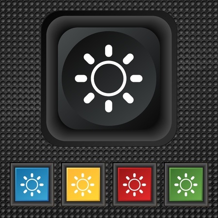 brightness: Brightness icon sign. symbol Squared colourful buttons on black texture. illustration Stock Photo