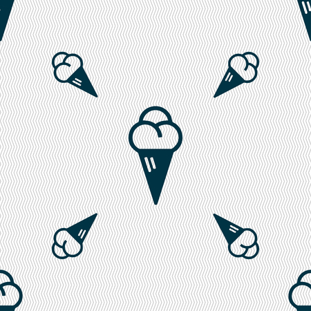 souffle: ice cream icon sign. Seamless pattern with geometric texture. illustration