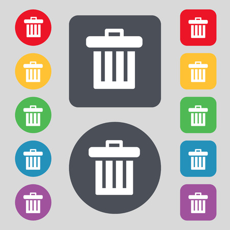 garbage tank: Recycle bin icon sign. A set of 12 colored buttons. Flat design. illustration
