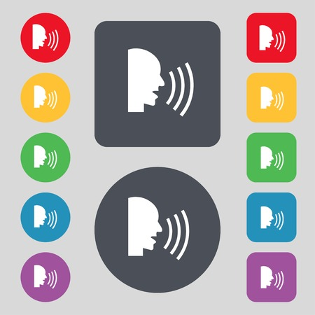 loudy: Talking Flat modern web icon. Set colour button. illustration Stock Photo