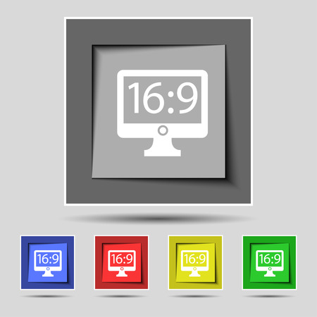 aspect: Aspect ratio 16:9 widescreen tv icon sign on the original five colored buttons. illustration Stock Photo