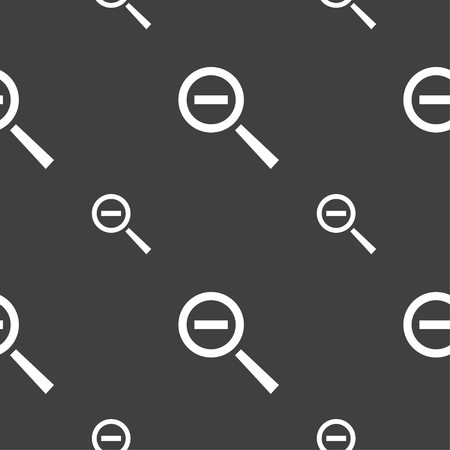 interface menu tool: Magnifier glass, Zoom tool icon sign. Seamless pattern on a gray background. illustration