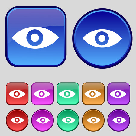 the sixth sense: Eye, Publish content, sixth sense, intuition icon sign. A set of twelve vintage buttons for your design. illustration