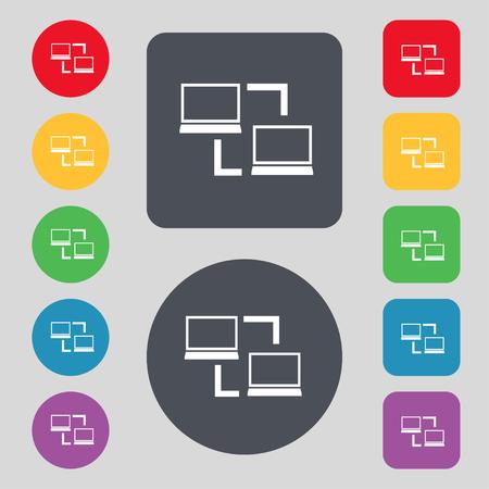 data synchronization: Synchronization sign icon. Notebooks sync symbol. Data exchange. Set colur buttons illustration