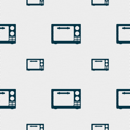 microwave stove: Microwave oven sign icon. Kitchen electric stove symbol. Seamless pattern with geometric texture. illustration