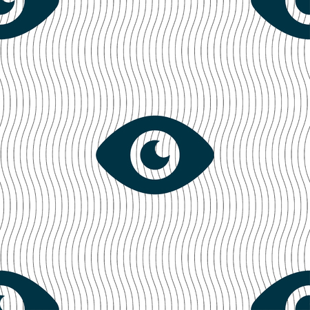publish: Eye, Publish content icon sign. Seamless pattern with geometric texture. illustration Stock Photo
