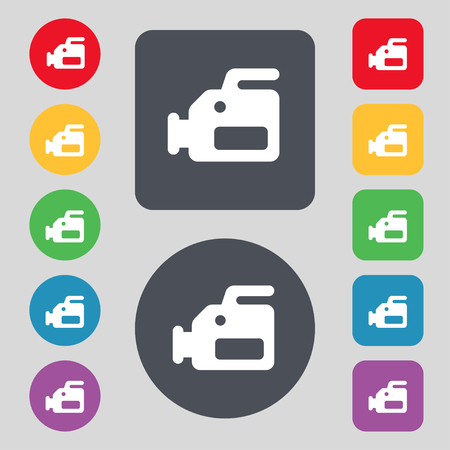 tokens: video camera icon sign. A set of 12 colored buttons. Flat design. illustration Stock Photo