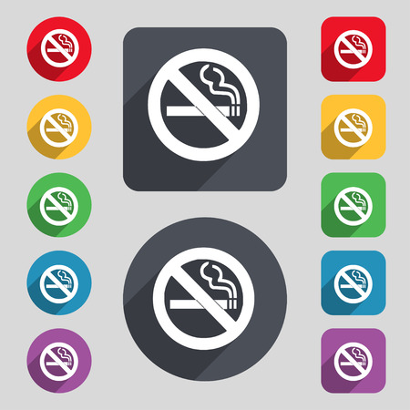 pernicious habit: no smoking icon sign. A set of 12 colored buttons and a long shadow. Flat design. illustration