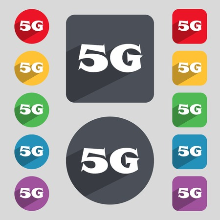 telephony: 5G sign icon. Mobile telecommunications technology symbol. Set of colour buttons. illustration