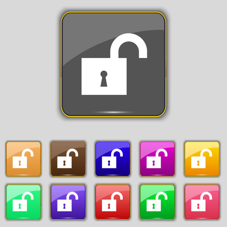 oldish: open lock icon sign. Set with eleven colored buttons for your site. illustration Stock Photo