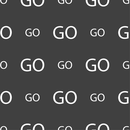 go sign: GO sign icon. Seamless pattern on a gray background. illustration