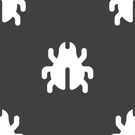 acarus: Software Bug, Virus, Disinfection, beetle icon sign. Seamless pattern on a gray background. illustration