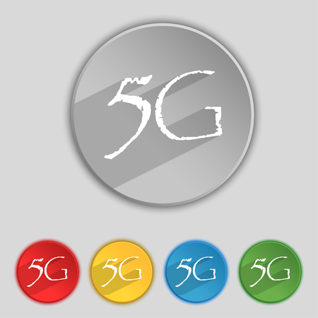 telecommunications technology: 5G sign icon. Mobile telecommunications technology symbol. Set of colour buttons. illustration