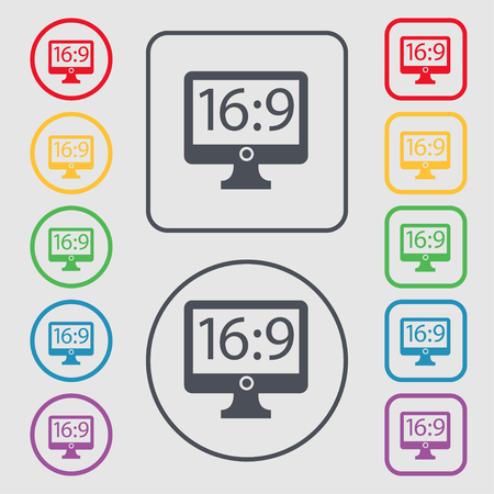 the ratio: Aspect ratio 16:9 widescreen tv icon sign. symbol on the Round and square buttons with frame. illustration Stock Photo