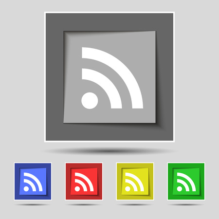 rss feed: RSS feed icon sign on the original five colored buttons. illustration Stock Photo