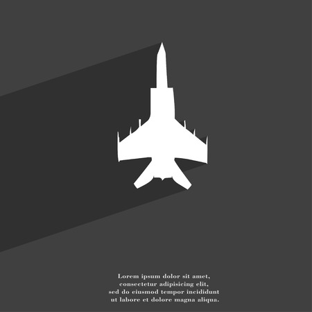 modern fighter: fighter icon symbol Flat modern web design with long shadow and space for your text. illustration