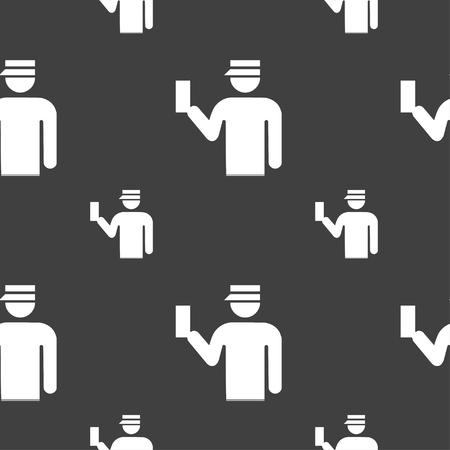 inspector: Inspector icon sign. Seamless pattern on a gray background. illustration Stock Photo