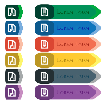wrapped corner: Archive file, Download compressed, ZIP zipped icon sign. Set of colorful, bright long buttons with additional small modules. Flat design. Stock Photo