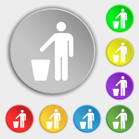 throw away: throw away the trash icon sign. Symbol on five flat buttons. illustration