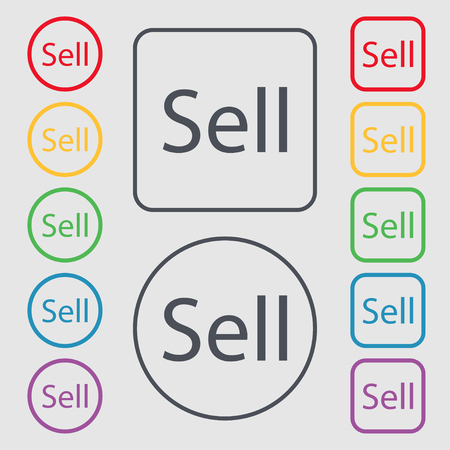 contributor: Sell sign icon. Contributor earnings button. Symbols on the Round and square buttons with frame. illustration Stock Photo