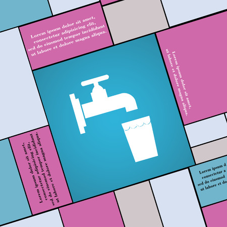 purify: faucet, glass, water icon sign. Modern flat style for your design. illustration