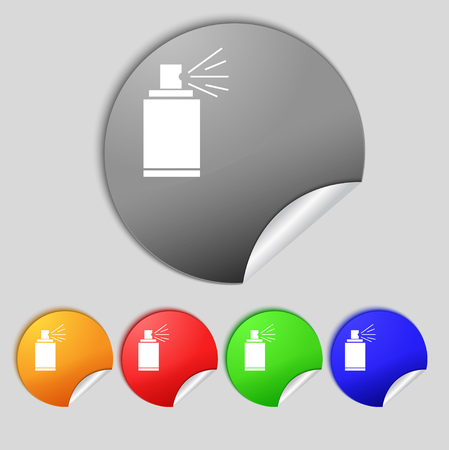 aerosol: Graffiti spray can sign icon. Aerosol paint symbol. Set of colored buttons. illustration Stock Photo