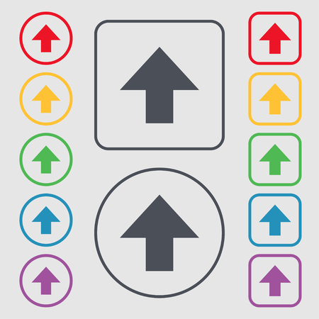 this side up: This side up sign icon. Fragile package symbol. Symbols on the Round and square buttons with frame. illustration Stock Photo