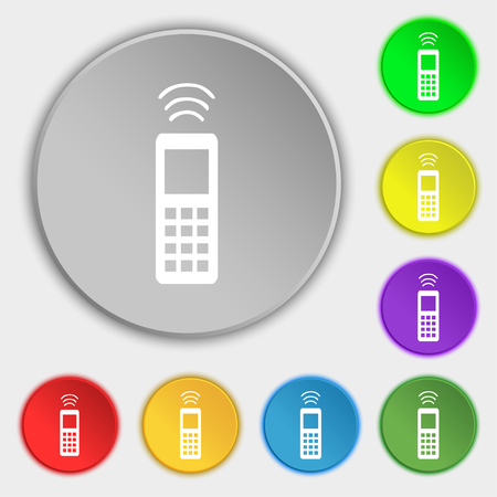 remote control: the remote control icon sign. Symbol on five flat buttons. illustration
