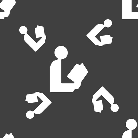 epublishing: read a book icon sign. Seamless pattern on a gray background. illustration